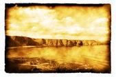 苏格兰-烧焦的纸上的老式照片的海岸线 — 图库照片