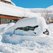 Car under heavy snow in winter — Stock Photo