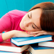 Young female student with many study books - Foto Stock