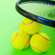 Tennis concept with balls and racket — Stock Photo #5109008