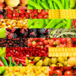 Collage of many different fruits and vegetables — Stock Photo #5109181