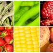 Collage of many different fruits and vegetables — Stock Photo #5109190