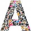 Font made of hundreds of shoes - Letter A - Foto Stock