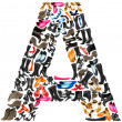 Stock Photo: Font made of hundreds of shoes - Letter A