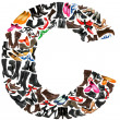 Font made of hundreds of shoes - Letter C - Stock Photo