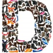 Font made of hundreds of shoes - Letter D - Foto Stock