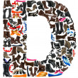Font made of hundreds of shoes - Letter D - Photo