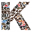 Font made of hundreds of shoes - Letter K — Stock Photo