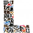 Font made of hundreds of shoes - Letter L — Stock Photo