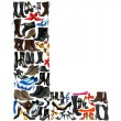 Font made of hundreds of shoes - Letter L - Stock Photo