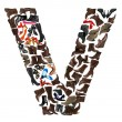Font made of hundreds of shoes - Letter V — Stock Photo