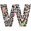 Font made of hundreds of shoes - Letter W — Stock Photo #5109306