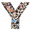 Font made of hundreds of shoes - Letter Y — Stock Photo #5109309