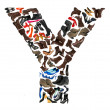 Font made of hundreds of shoes - Letter Y — Stock Photo