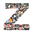 Font made of hundreds of shoes - Letter Z — Stock Photo