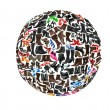 Round shape made of hundreds of shoes - Stock Photo