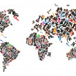 Stock Photo: World map made of hundreds of oshoes