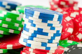 Stack of various casino chips - gambling concept — Stok fotoğraf