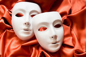 Theatre concept with the white plastic masks — Foto de Stock