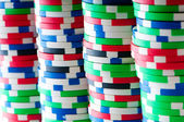 Stack of various casino chips - gambling concept — Foto de Stock