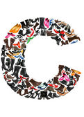 Font made of hundreds of shoes - Letter C — Stock Photo