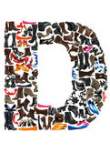 Font made of hundreds of shoes - Letter D — Stock Photo