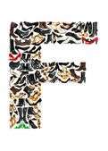 Font made of hundreds of shoes - Letter F — Stock Photo