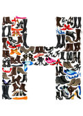 Font made of hundreds of shoes - Letter H — Stock Photo