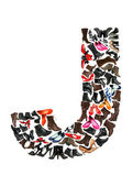 Font made of hundreds of shoes - Letter J — Stock Photo