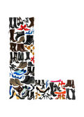 Font made of hundreds of shoes - Letter L — Stok fotoğraf