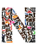 Font made of hundreds of shoes - Letter N — Stock Photo