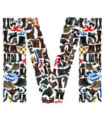 Font made of hundreds of shoes - Letter M — Stock Photo