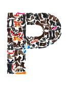 Font made of hundreds of shoes - Letter P — Stock Photo