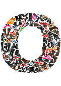 Font made of hundreds of shoes - Letter O — Stock Photo