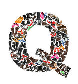 Font made of hundreds of shoes - Letter Q — Stock Photo