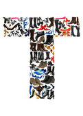Font made of hundreds of shoes - Letter T — Stock Photo