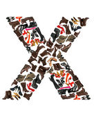 Font made of hundreds of shoes - Letter X — Stock Photo
