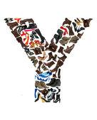 шрифт, из сотен обувь - букву y — Стоковое фото
