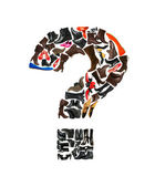 Font made of hundreds of shoes - question mark — Stock Photo