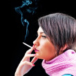 Young girl smoking on black — Stock Photo #5124097