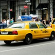 Famous New York yellow taxi cabs in motion — Stock Photo #5132482