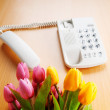 Romantic concept with phone and tulip flowers — Stock Photo
