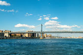 Brooklyn bridge in New York on bright summer day — Stock Photo