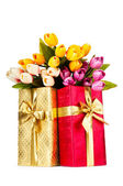 Celebration concept - gift box and tulip flowers — Zdjęcie stockowe