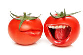 Funny concept with tomatoes and open mouth — Stock Photo