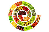 Spiral made of various fruits and vegetables — Stock Photo