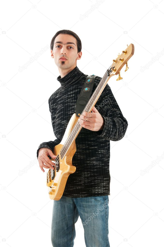 Guitar player isolated on the white background  Stock Photo #5184125