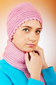 Nice looking woman in the warm clothing — Stock Photo