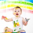 Baby and paints — Stock Photo #4798200