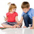 Foto Stock: Children draw color pencils